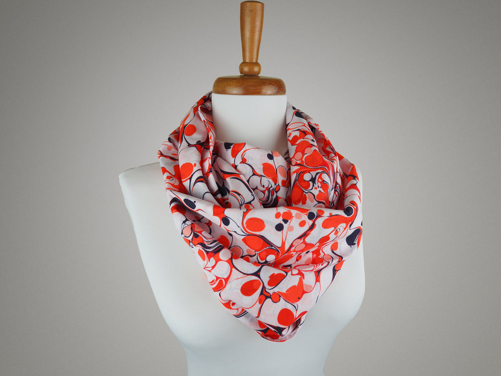 Handmade red and white marble print infinity scarf