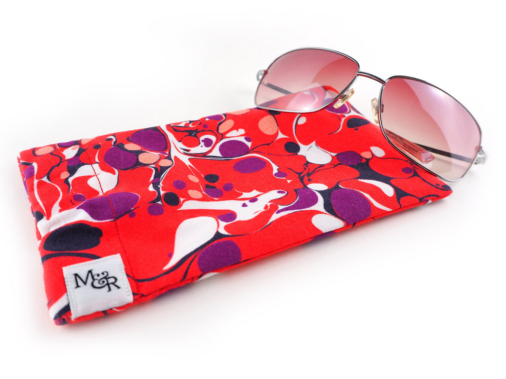 Handmade red marble print glasses case