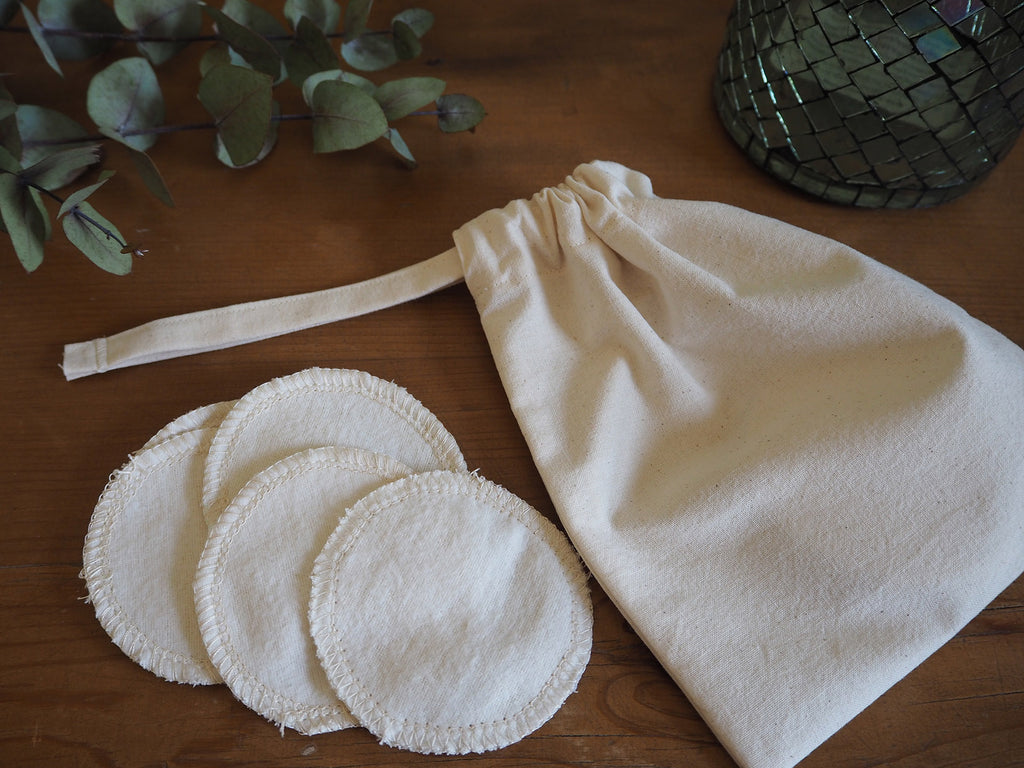 Reusable cotton facial pads and storage bag