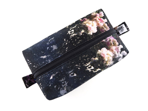 Rose print handmade wash bag with zip