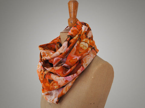 Handmade rose print infinity scarf on a mannequin