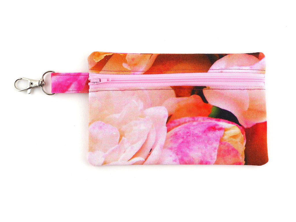 Pink rose print travel pouch