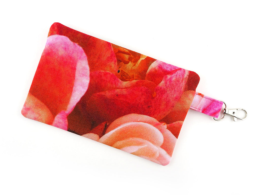 Pink rose print coin purse