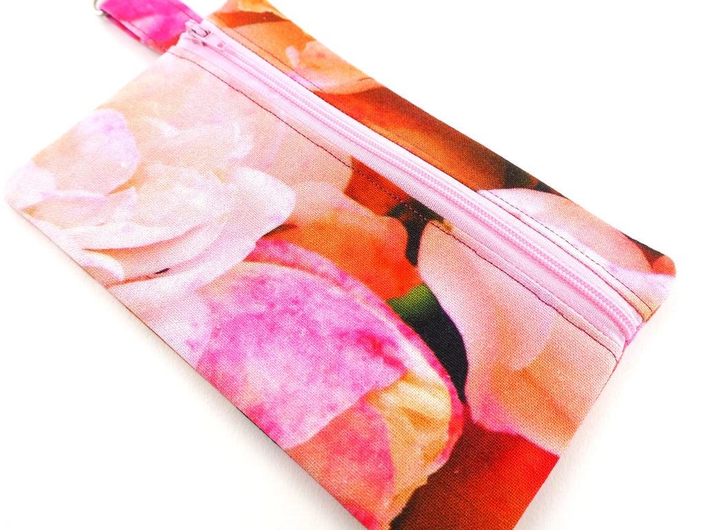 Pink roses handmade money pouch