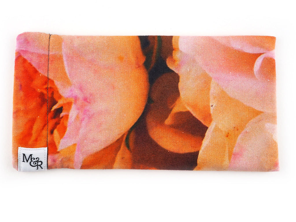 Handmade pink roses sunglasses case front view