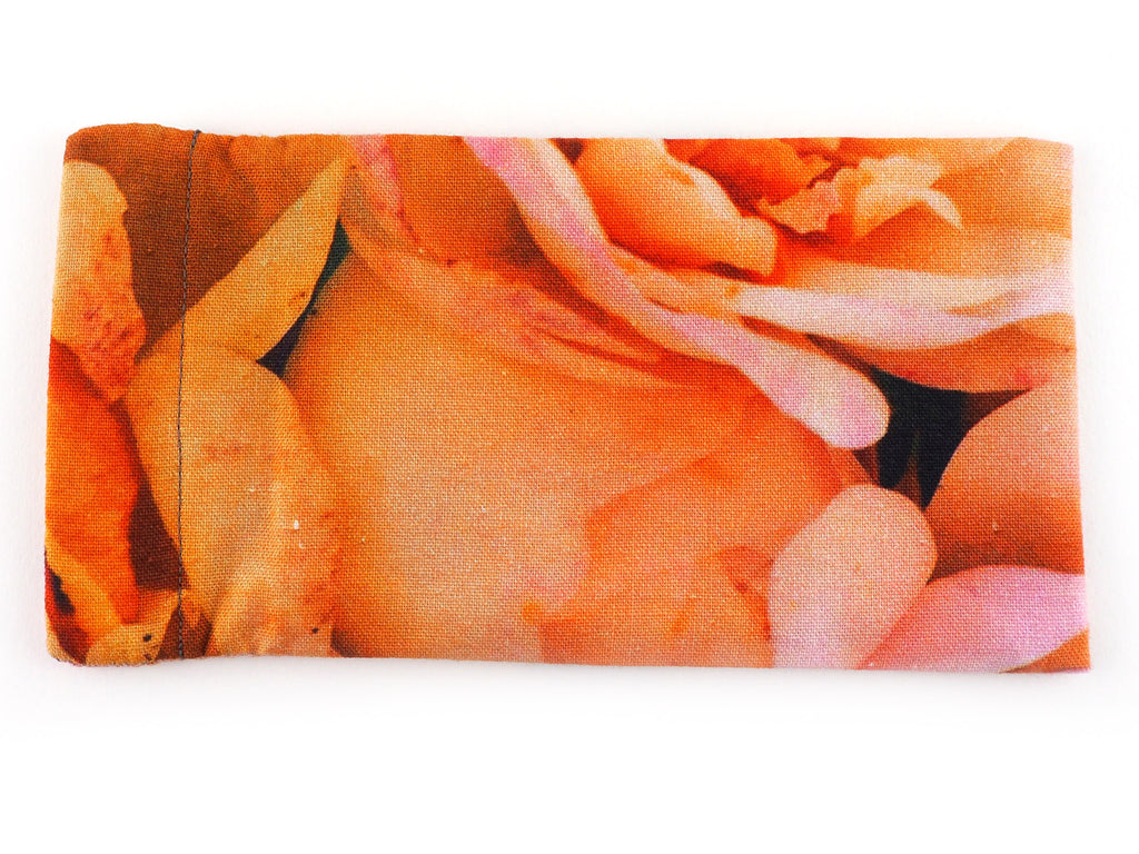 Handmade pink roses sunglasses case back view