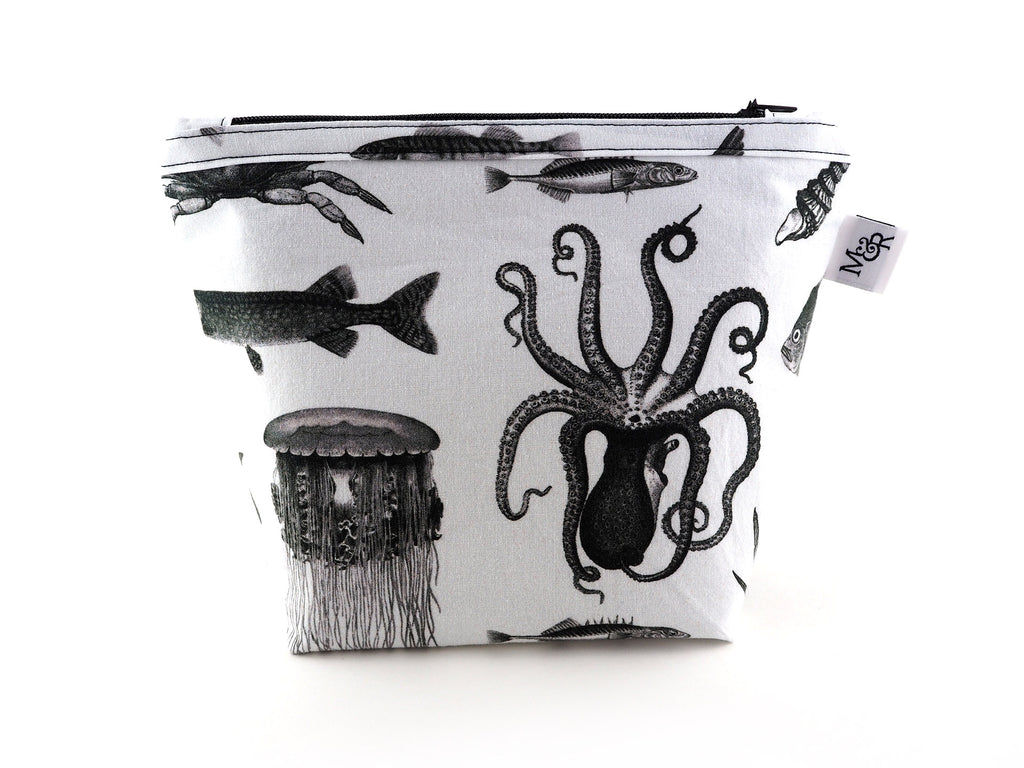 Handmade sea creature print makeup bag in black and white