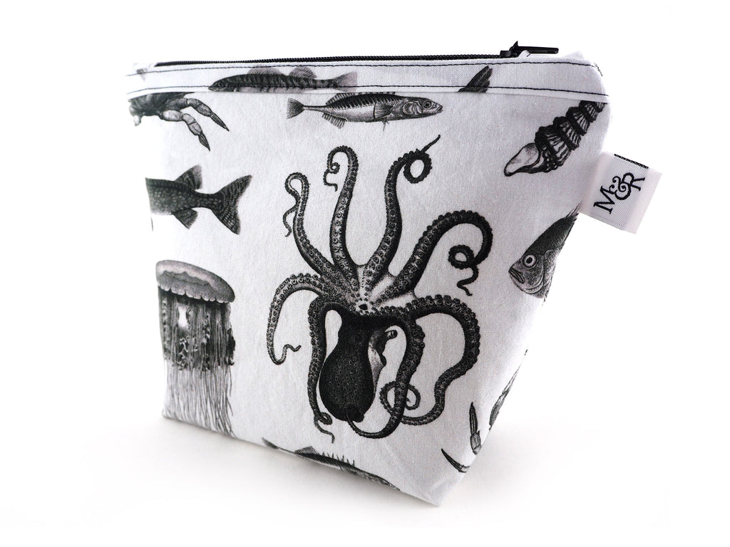 Handmade octopus print bag in white