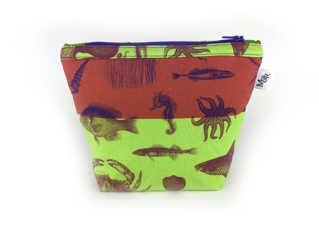 Max and Rosie handmade sea creature print makeup bag in lime and rust