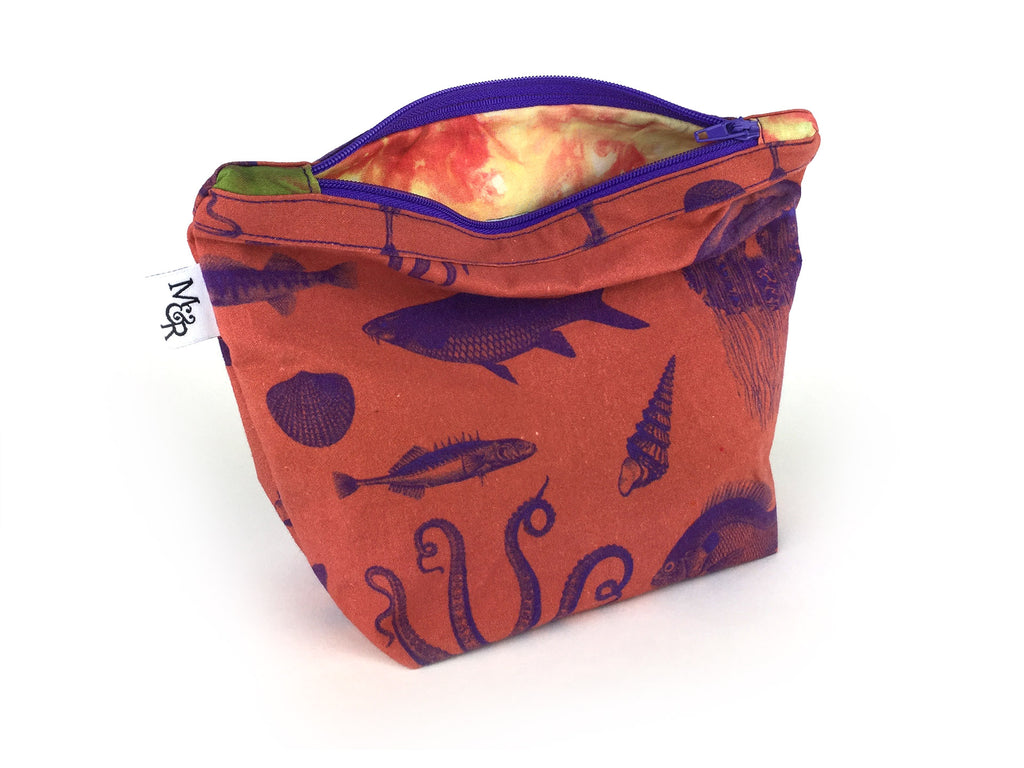 Handmade rust colour sea creature print makeup bag