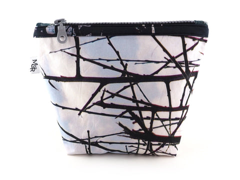 Handmade thorn print bag with silver zip