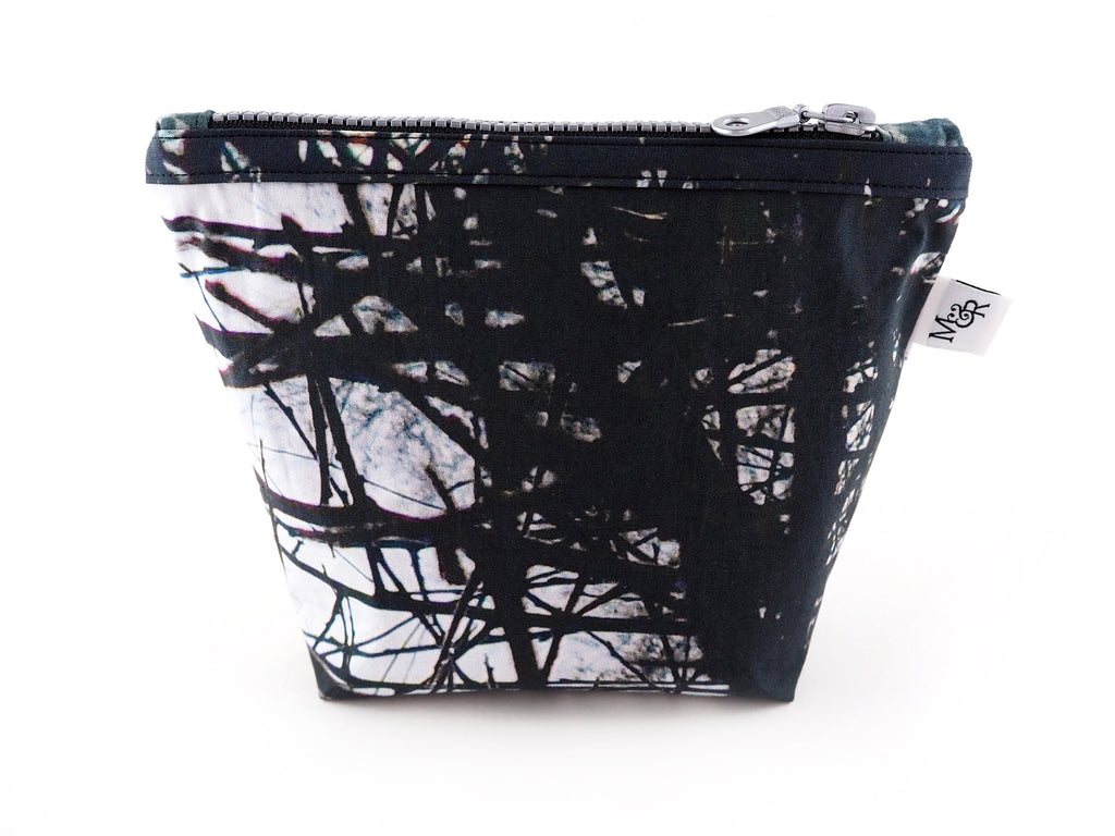 Handmade thorn print makeup bag with silver zip
