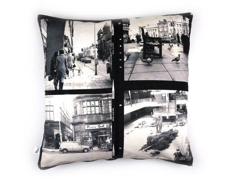 Handmade cushion in vintage 1960s photo print