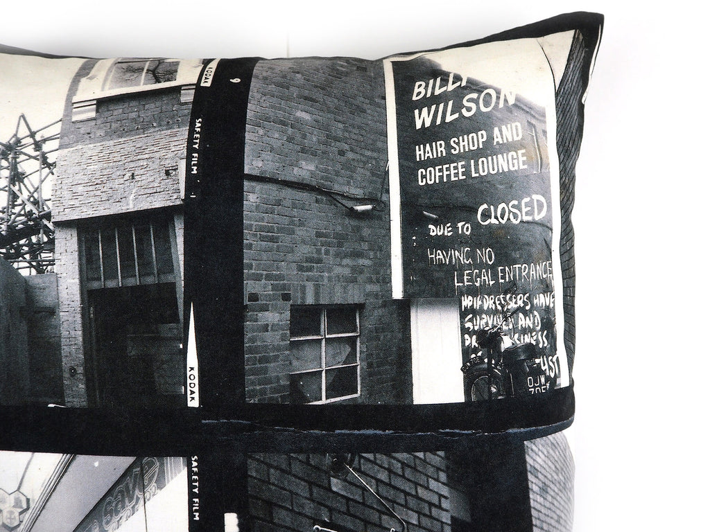 Handmade cushion in vintage 1960s photos print close up