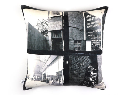 Handmade cushion in vintage 1960s photos print front view