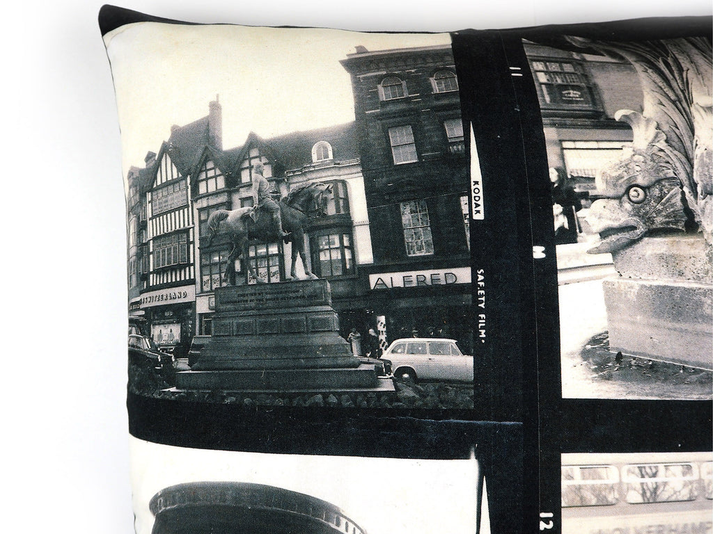Handmade vintage 1960's photo print cushion cover detail