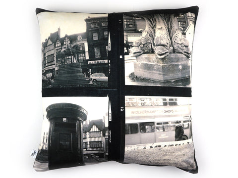 Vintage 1960's photo print cushion cover front view