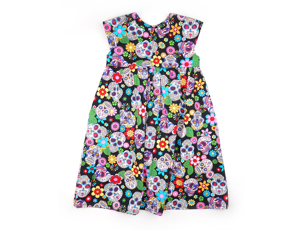 Handmade sugar skull print girl's dress with pockets