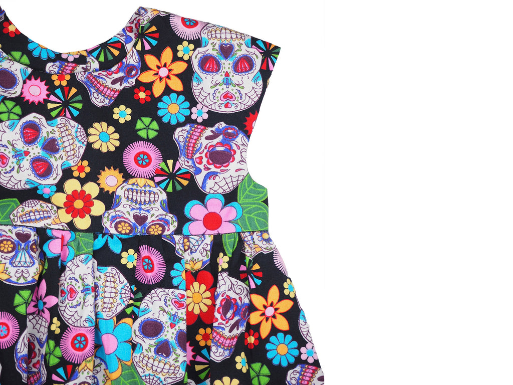 Multi coloured dress in skull print fabric