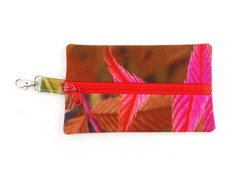 Handmade pink and red zipper pouch