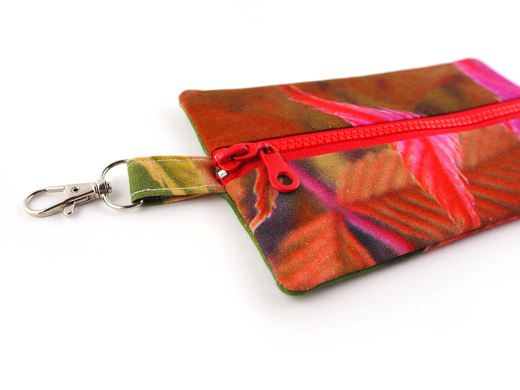 Handmade travel pouch with chunky zip and clasp
