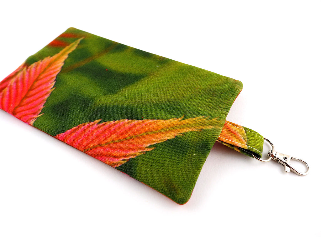 Handmade leaf print travel pouch with chunky zip