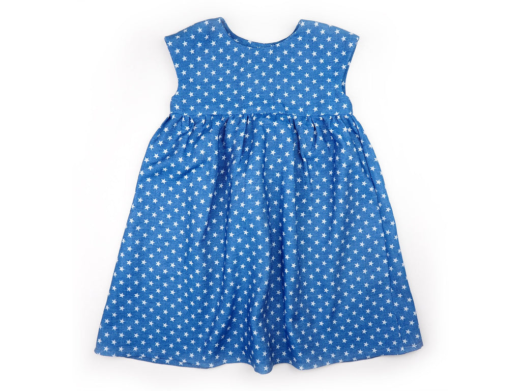 Handmade girl's dress in blue fabric with star print