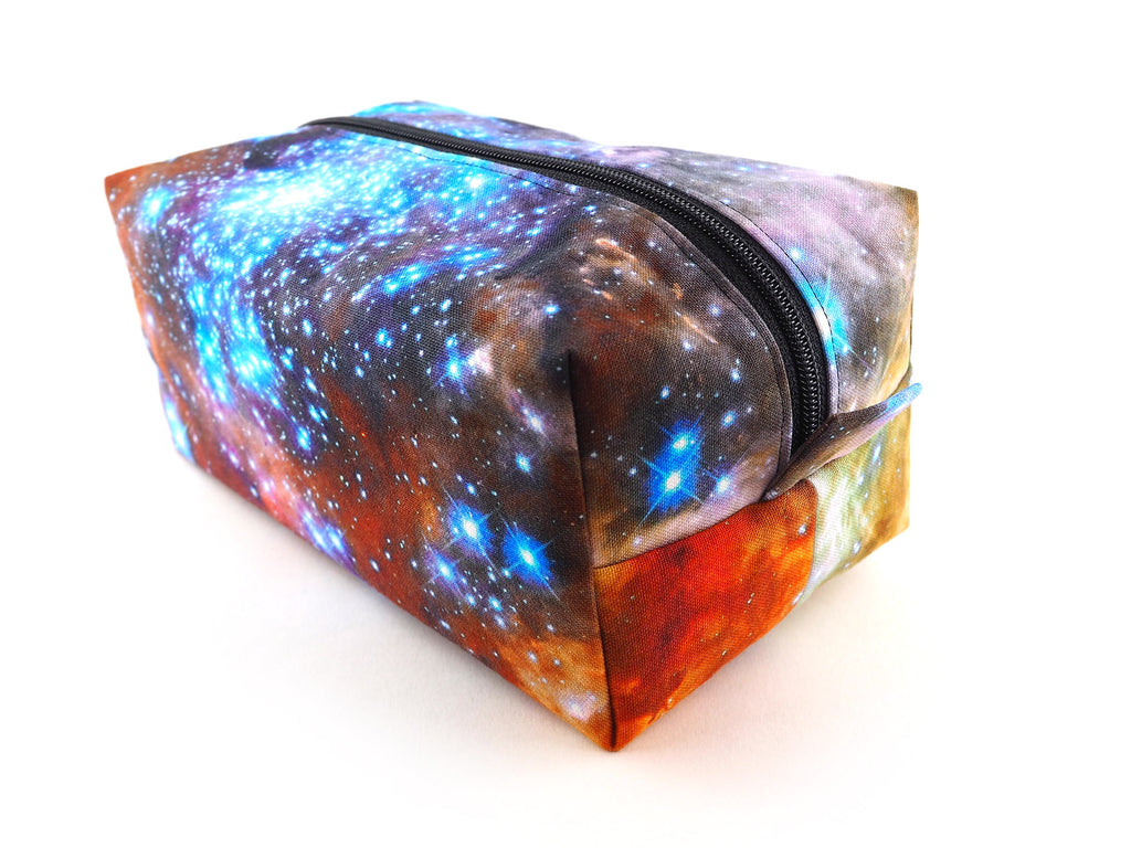 Handmade nebula print makeup bag with black zipper