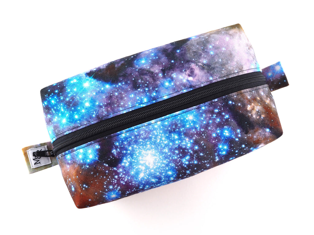 Handmade nebula print wash bag