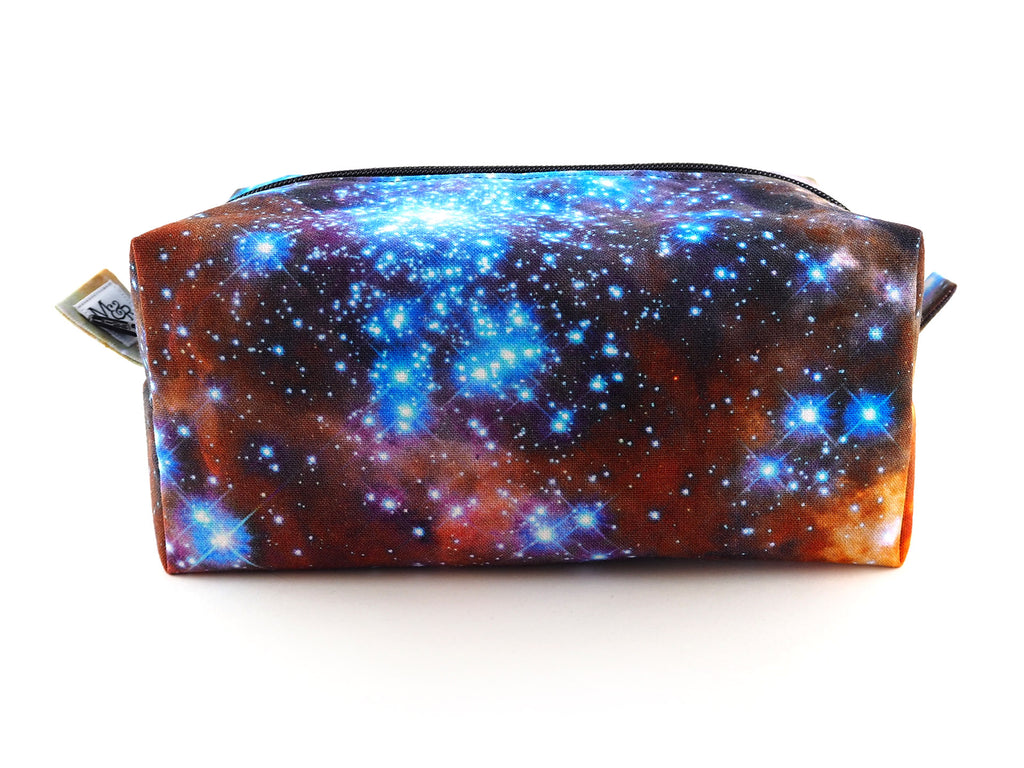 Handmade nebula print toiletries bag