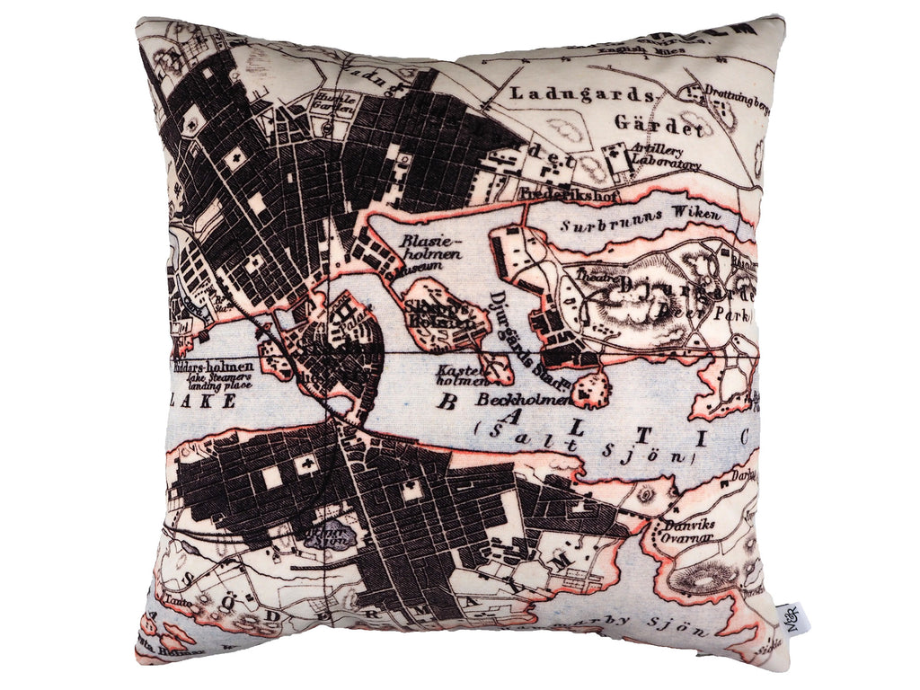 Handmade velvet cushion in antique map print