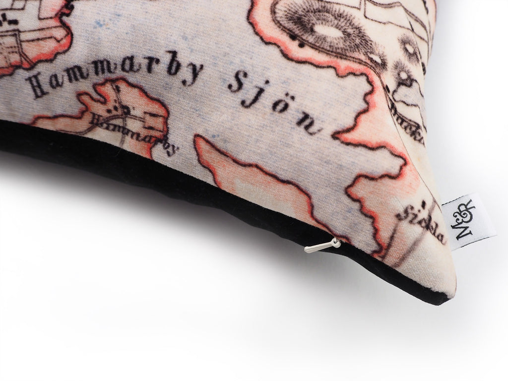 Handmade Stockholm map print velvet cushion