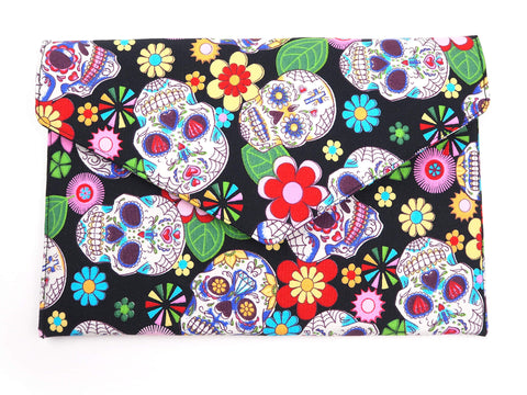 Handmade envelope clutch in sugar skull print fabric