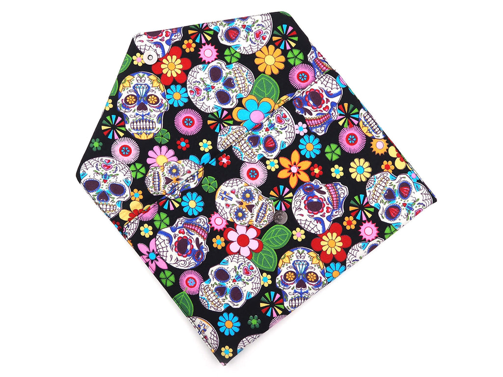 Sugar skull print handmade clutch bag