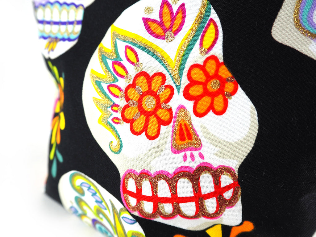 Handmade skull print makeup bag close up