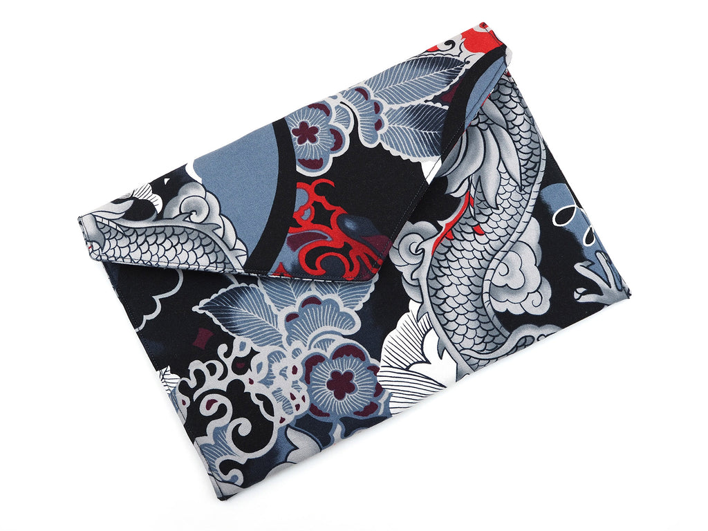 Designer print fabric envelope clutch