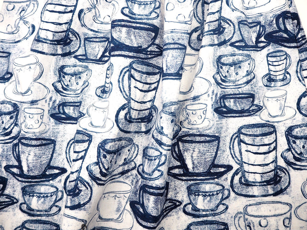 Exclusive Max & Rosie blue and white teacup print fabric