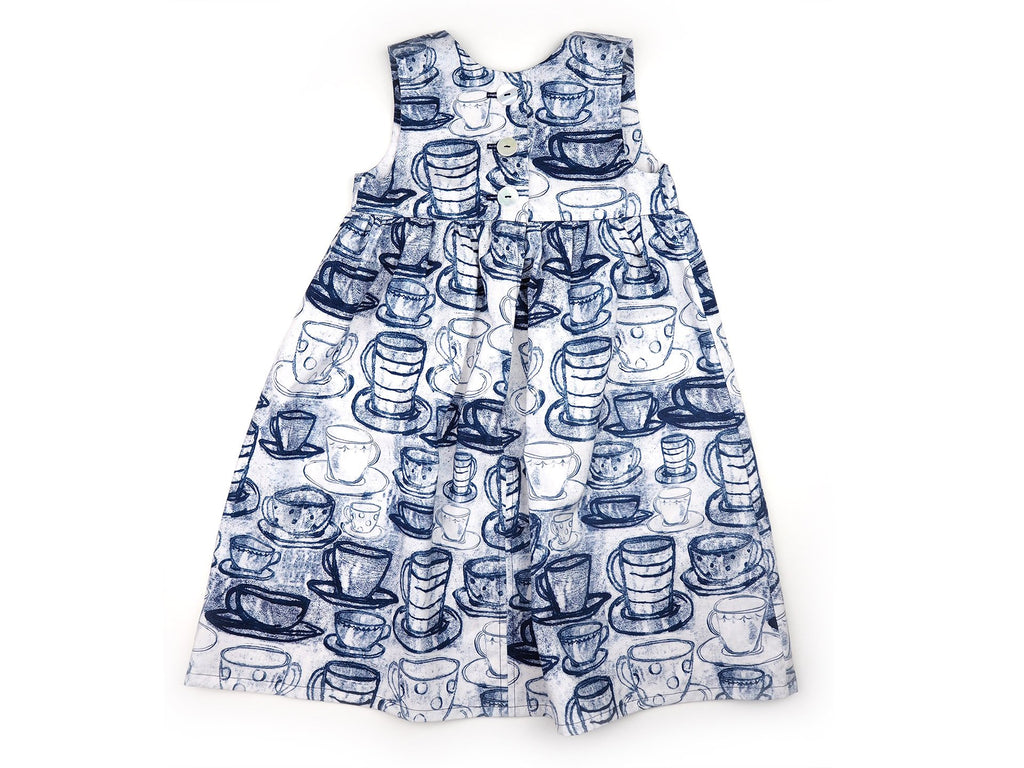 Blue and white teacup print handmade dress by Max & Rosie