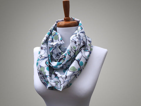 Handmade teal and white marble print cotton infinity scarf