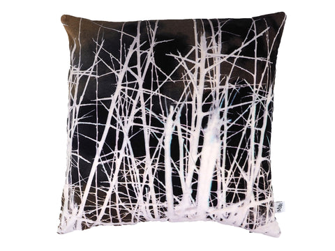 Handmade monochrome thorn print velvet cushion