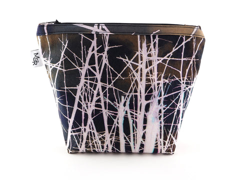 Handmade white thorns print makeup bag