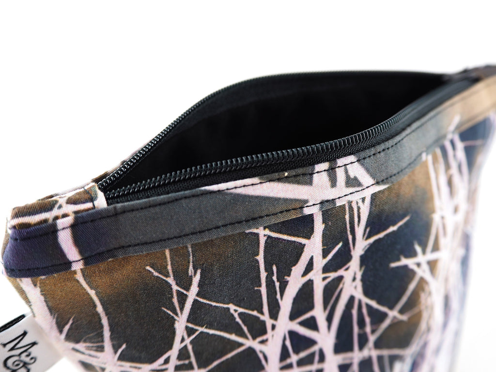 Handmade white thorns print makeup bag with black zip