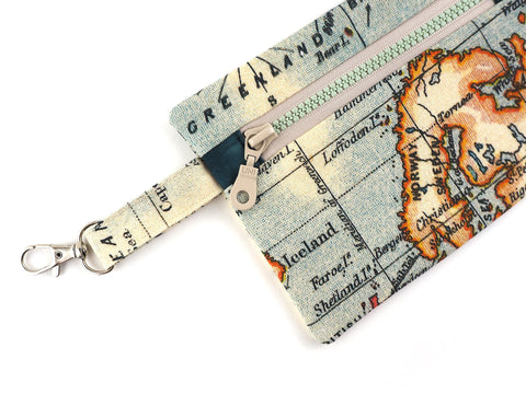 Handmade map print travel pouch