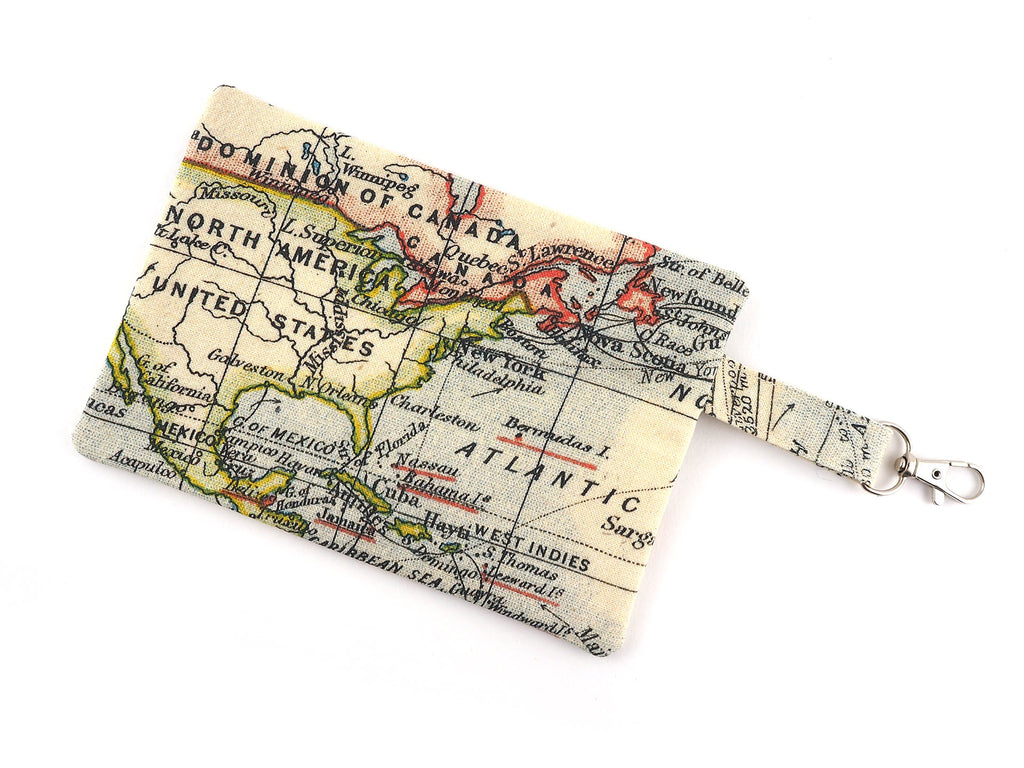 Handmade map print travel pouch with chunky zipper