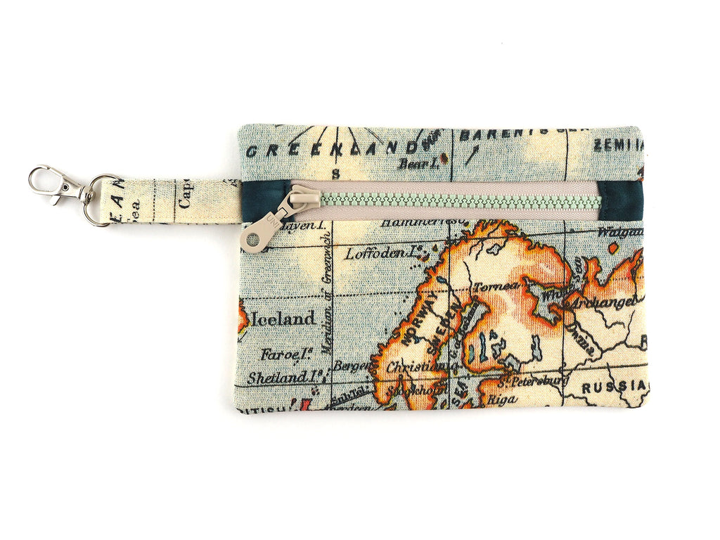 Handmade map print travel pouch with clasp