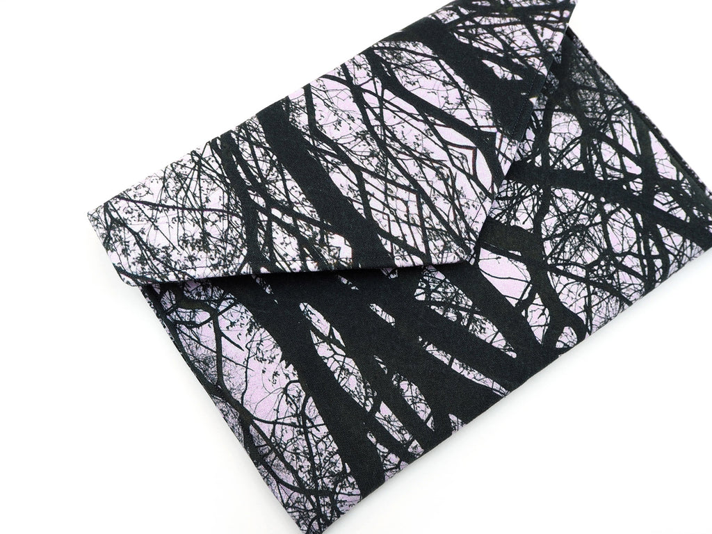 Handmade tree print tablet cover in monochrome