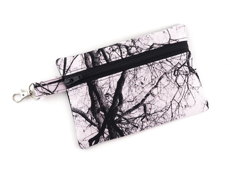 Monochrome tree print travel pouch