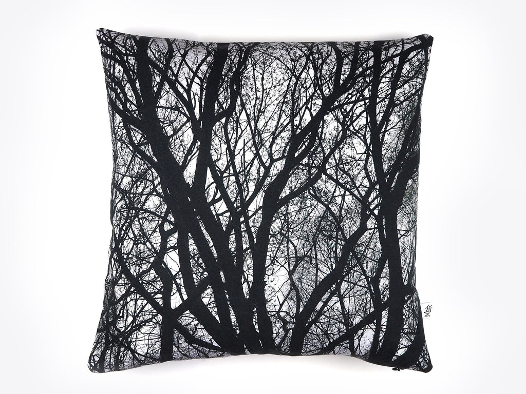 Monochrome tree print cushion