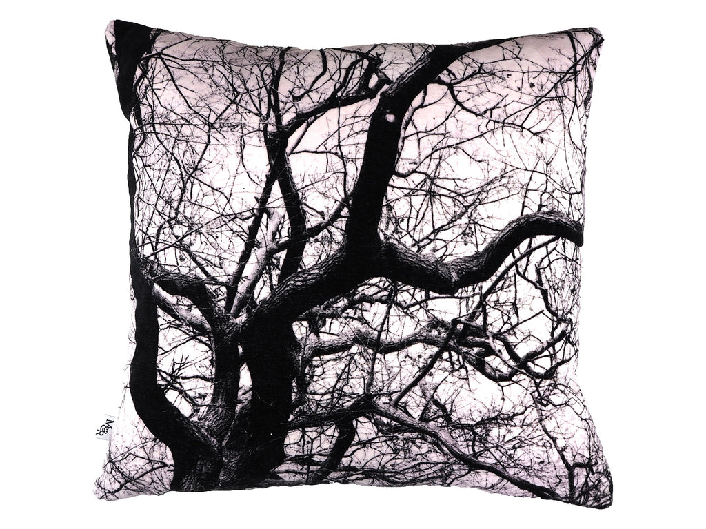 Handmade black and white tree print velvet cushion