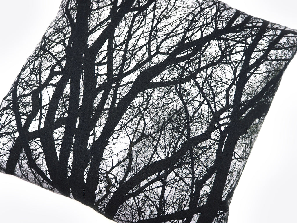 Monochrome tree print cushion close up